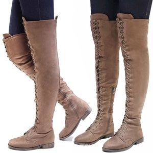 New Taupe Over the Knee Suede Lace Up Combat Boots